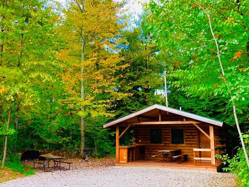 exterior of cabin rental in fall