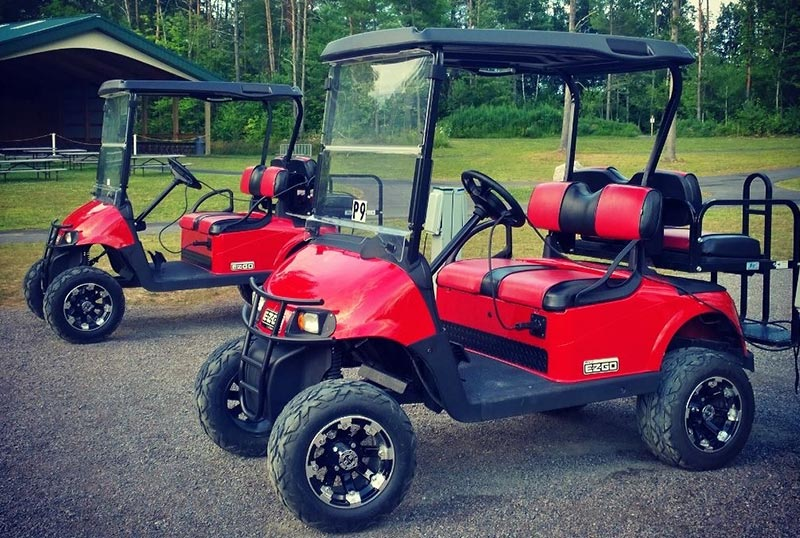 Red golf carts