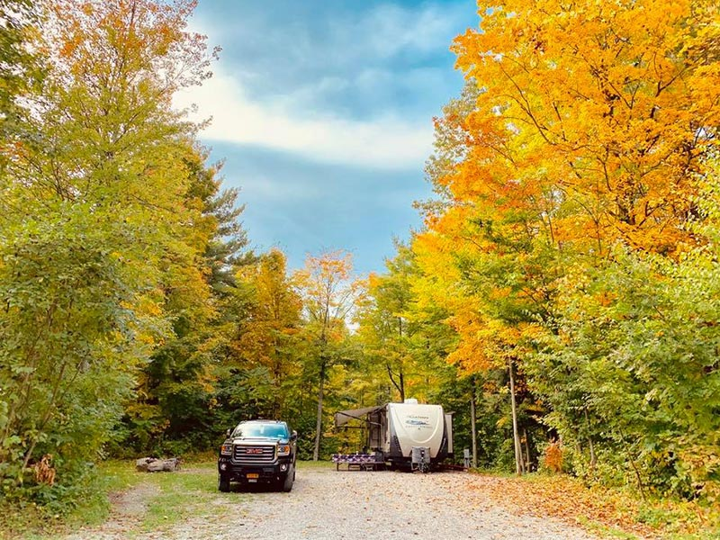 RV campsite in the fall in White Mountains, NH