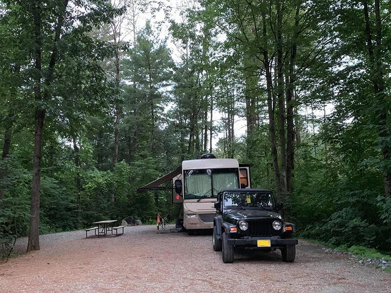 large RV campsite in White Mountains, NH