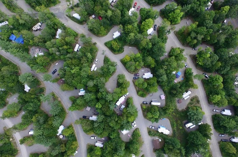 areial view of campsites at Moose Hillock RV park in White Mountains, NH