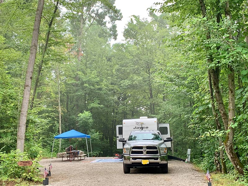 campsite at Moose Hillock RV Park in lake George, NY