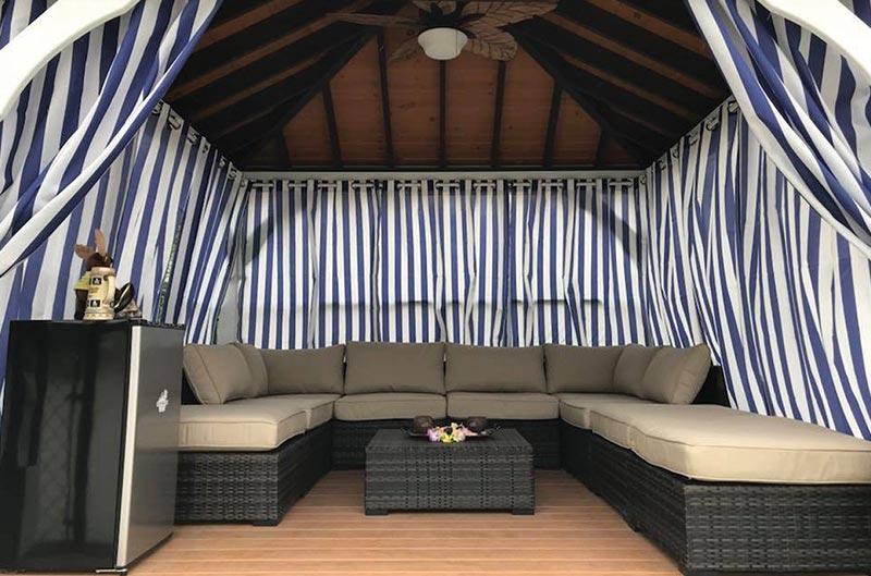 Poolside cabana for rent at Moose Hillock RV Park