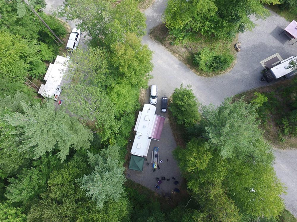 aerial of campsites at Moose Hillock RV Park in Lake George, NY