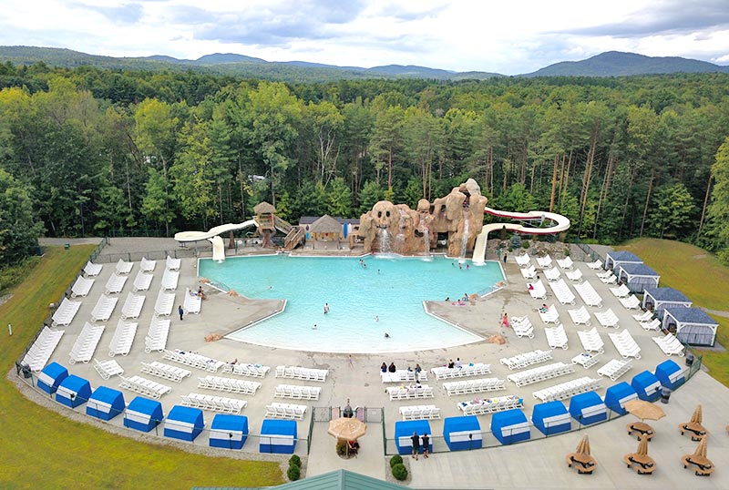 Aerial of pool area at Moose Hillock RV Park in Lake George, Ny