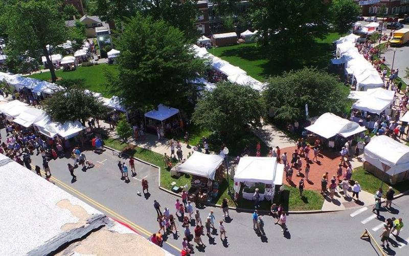 aerial view of popup tents setup around block