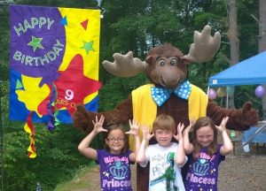 Moose Mascot with kids