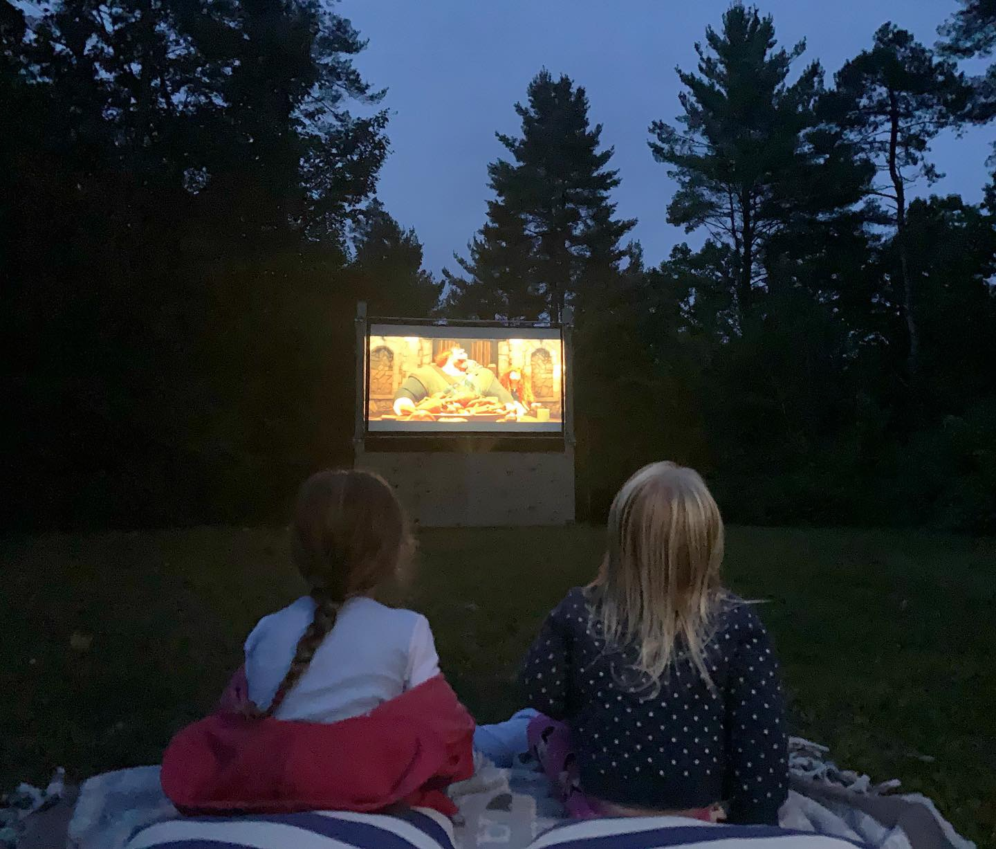 Kids watching outdoor movie