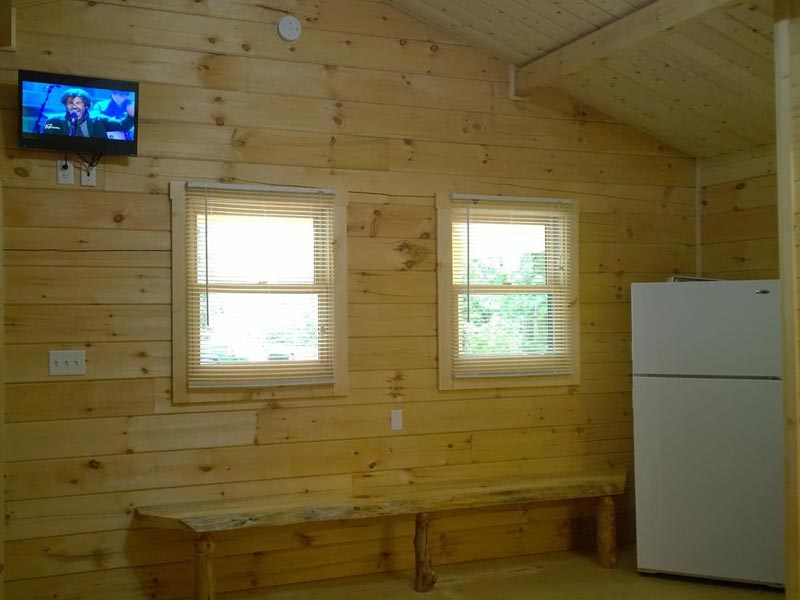 Wood Cabin interior with refrigerator and TV in wall