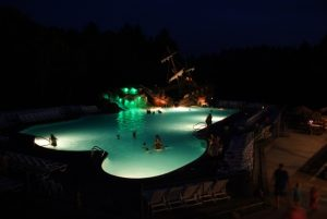 Pool lit up at night