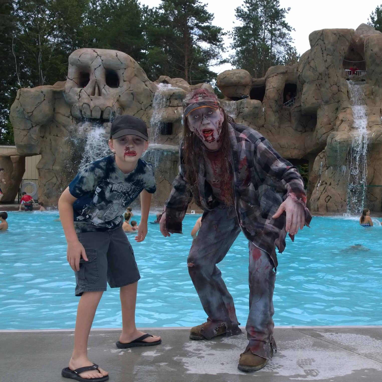 kids dressed as zombies poolside at moose hillock resort in Lake George Ny